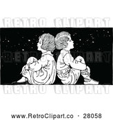 Vector Clip Art of a Retro Boy and Girl Sitting Back to Back Under Stars at Night by Prawny Vintage