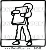 Vector Clip Art of a Retro Boy Carrying a Book by Prawny Vintage