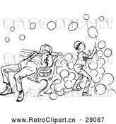 Vector Clip Art of a Retro Boy Playing with Soap Bubbles Beside a Sleeping Man on a Bench by Prawny Vintage