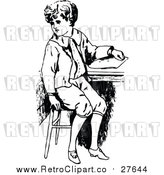 Vector Clip Art of a Retro Boy Sitting at School Desk by Prawny Vintage