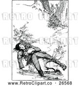 Vector Clip Art of a Retro Boy Sleeping by a Creek by Prawny Vintage