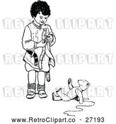 Vector Clip Art of a Retro Boy Standing Beside a Teddy Bear on the Ground - Black and White by Prawny Vintage