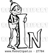 Vector Clip Art of a Retro Boy Standing Beside the Word 'In' by Prawny Vintage