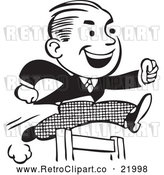 Vector Clip Art of a Retro Business Man Leaping a Hurdle by BestVector