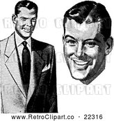 Vector Clip Art of a Retro Businessman in a Suit and Face by BestVector