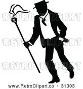 Vector Clip Art of a Retro Campaigner Walking Around by Prawny Vintage