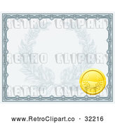 Vector Clip Art of a Retro Certificate Stamped with a Gold Badge by AtStockIllustration