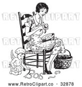 Vector Clip Art of a Retro Chef Angel Helping a Woman Peel Apples by Picsburg