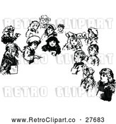 Vector Clip Art of a Retro Children and Blank Text Space by Prawny Vintage
