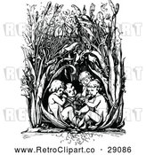 Vector Clip Art of a Retro Children Playing in Tall Plants - Black and White by Prawny Vintage