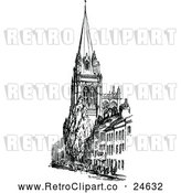 Vector Clip Art of a Retro Church with Spire by Prawny Vintage