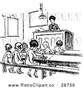Vector Clip Art of a Retro Classroom with Young Students and a Teacher by Prawny Vintage