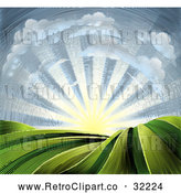 Vector Clip Art of a Retro Clouds with Sunrise over Farmland by AtStockIllustration