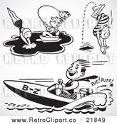 Vector Clip Art of a Retro Collage Featuring People Swimming, Fishing and Boating by BestVector