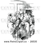 Vector Clip Art of a Retro Crowd of Men Inside a Buidling by Prawny Vintage