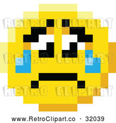 Vector Clip Art of a Retro Crying Sad 8 Bit Smiley Face by AtStockIllustration