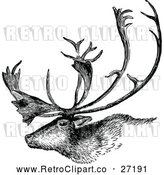 Vector Clip Art of a Retro Deer Stag with Trophy Antlers by Prawny Vintage