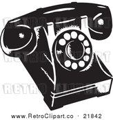 Vector Clip Art of a Retro Desk Phone by BestVector
