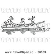 Vector Clip Art of a Retro Father, Dog, and Children Paddling a Boat by Prawny Vintage