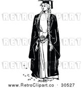 Vector Clip Art of a Retro Female Graduate with Long Hair Braided by Prawny Vintage