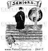 Vector Clip Art of a Retro Female Senior Graduate Beside a Globe by Prawny Vintage
