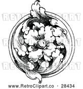 Vector Clip Art of a Retro Floral Medallion in Black and White by Prawny Vintage