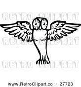 Vector Clip Art of a Retro Flying Owl by Prawny Vintage