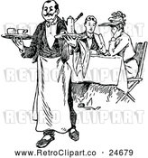 Vector Clip Art of a Retro French Waiter and Diners by Prawny Vintage