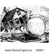 Vector Clip Art of a Retro Giant Snowball Hitting a House by Prawny Vintage
