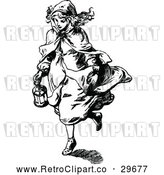 Vector Clip Art of a Retro Girl Carrying a Lantern by Prawny Vintage
