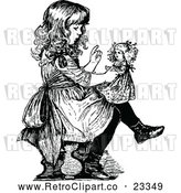 Vector Clip Art of a Retro Girl Lecturing Her Doll by Prawny Vintage