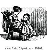 Vector Clip Art of a Retro Girl Reading to Her Mom by Prawny Vintage