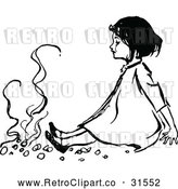 Vector Clip Art of a Retro Girl Sitting by a Fire by Prawny Vintage