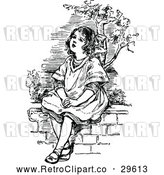 Vector Clip Art of a Retro Girl Sitting on a Wall by Prawny Vintage