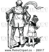 Vector Clip Art of a Retro Girl with Her Grandfather by Prawny Vintage