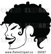 Vector Clip Art of a Retro Girl's Fashionable Curly Short Hair in Profile by Prawny Vintage