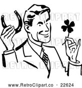 Vector Clip Art of a Retro Good Luck Man with a Horseshoe and Four Leaf Clover by BestVector