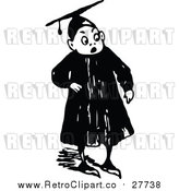 Vector Clip Art of a Retro Graduate Boy Looking Surprised by Prawny Vintage