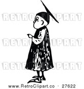 Vector Clip Art of a Retro Graduate Boy Pointing Finger at Graduation by Prawny Vintage
