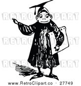 Vector Clip Art of a Retro Graduate Boy Pointing Finger While Smiling by Prawny Vintage
