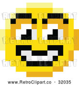 Vector Clip Art of a Retro Grinning 8 Bit Smiley Face by AtStockIllustration