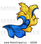 Vector Clip Art of a Retro Heraldry Floral Design Element - Blue and Yellow Theme by AtStockIllustration