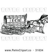 Vector Clip Art of a Retro Horse Drawn Ice Cart by Prawny Vintage