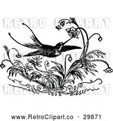 Vector Clip Art of a Retro Hummingbird Feeding on Flowers by Prawny Vintage