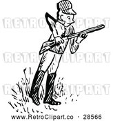 Vector Clip Art of a Retro Hunter Holding a Rifle by Prawny Vintage