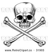 Vector Clip Art of a Retro Jolly Roger Skull with Crossbones Below in Black and White by AtStockIllustration
