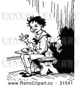 Vector Clip Art of a Retro Kid Sitting in a Corner While Eating Christmas Pie by Prawny Vintage