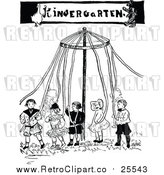 Vector Clip Art of a Retro Kindergarten May Pole with Children by Prawny Vintage