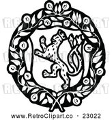 Vector Clip Art of a Retro Leopard Coat of Arms by Prawny Vintage