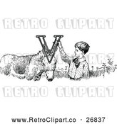 Vector Clip Art of a Retro Letter Alphabet V Boy and Donkey by Prawny Vintage